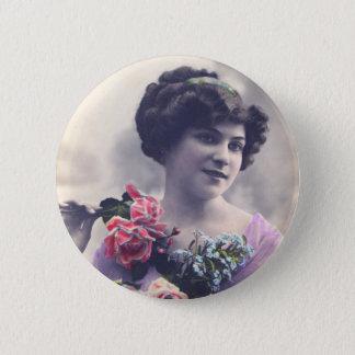 Badges Femme française vintage de carte postale avec des