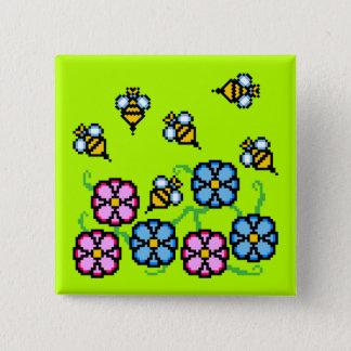 Badges Fleurs et bouton de bourdonnement