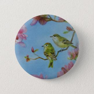 Badges Fleurs roses d'amis d'oiseau de Kinglet couronnées