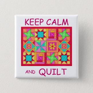 Badges Gardez le calme et l'édredon de patchwork multi de