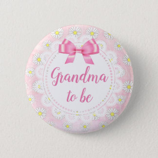 Badges Grand-maman à être bouton rose de baby shower de