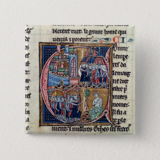 """Badges Historiated parafent """"C"""" dépeignant Conrad III"""