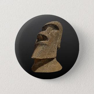 Badges Île de Pâques Moai - BG noire - bouton rond