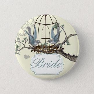 Badges Inséparables vintages d'oiseau bleu épousant des