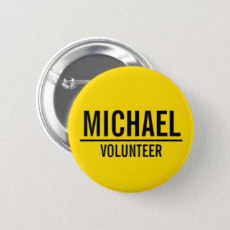 Badges Insigne volontaire jaune avec le nom fait sur