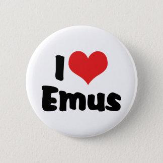 Badges J'aime des émeus de coeur - amant d'émeu et
