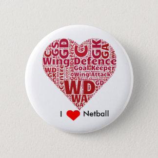 Badges J'aime la conception d'art de mot de net-ball