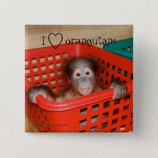 Badges J'aime l'amoureux des animaux d'orangs-outans
