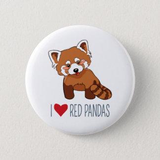 Badges J'aime les pandas rouges - panda rouge de bande