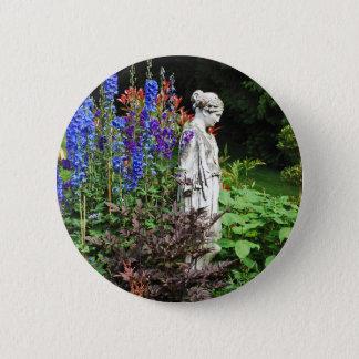 Badges Jardin d'agrément et statue bleus de delphinium
