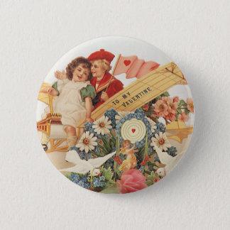 Badges Jour de Valentines victorien vintage, enfants dans
