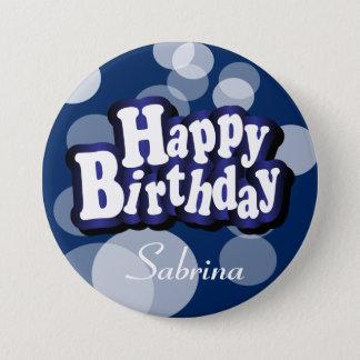 Badges Joyeux anniversaire dans Bokeh bleu-foncé