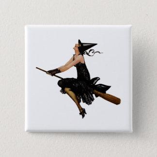 Badges La sorcière va voler sur un manche à balai