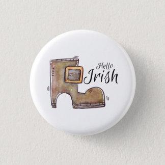 Badges Le jour de St Patrick. Aquarelle. Chaussure de