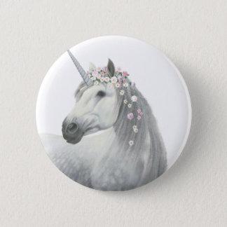 Badges Licorne d'esprit avec des fleurs dans la crinière