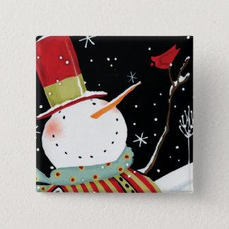 Badges Maison moderne d'hiver de bonhommes de neige