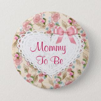 Badges Maman assez florale à être bouton de baby shower