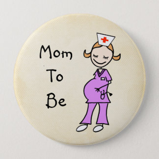 Badges Maman d'infirmière à être, beige