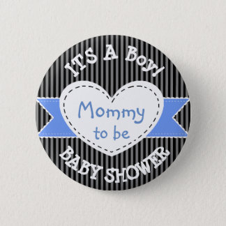 Badges Maman rayée bleue de bouton de baby shower à être