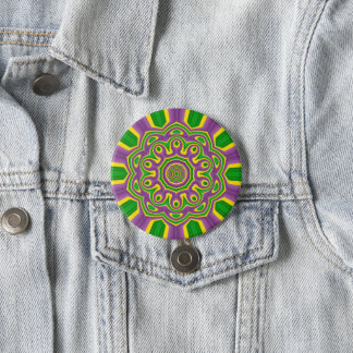 Badges Mandala pourpre jaune vert de motif de mardi gras