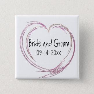 Badges Mariage abstrait rose de coeur