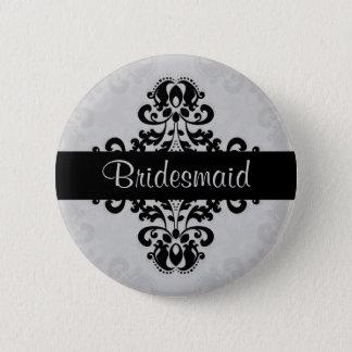 Badges Mariage noir et gris de demoiselle d'honneur de