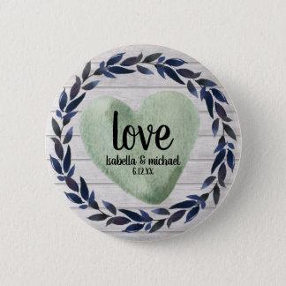 Badges mariage personnalisé par coeur vert ustic