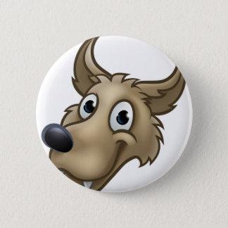 Badges Mascotte de caractère de loup de bande dessinée