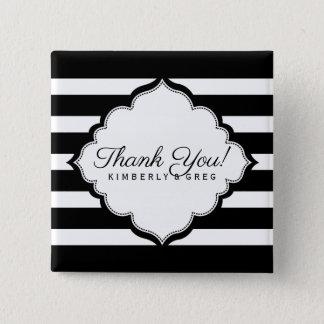 Badges Merci noir et blanc de modèle de rayures