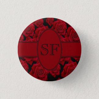 Badges Monogramme de rose rouge