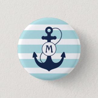 Badges Monogramme nautique bleu-clair d'ancre