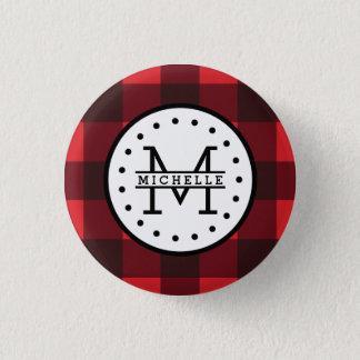 Badges Monogramme rouge de nom de bûcheron de plaid de