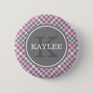 Badges Motif gris rose-clair de plaid avec le monogramme