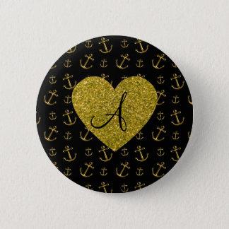 Badges Motif noir d'ancres d'or de monogramme