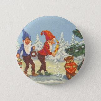 Badges Noël vintage, elfes pendant l'hiver de forêt de