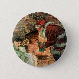 Badges Noël vintage, enfants victoriens du père noël