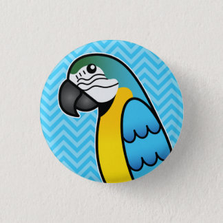 Badges Oiseau bleu et jaune de perroquet d'ara de bande