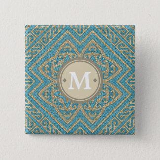 Badges Or géométrique ID161 de turquoise de monogramme de