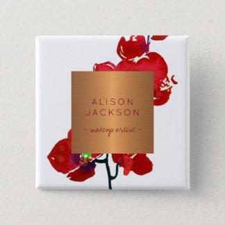 Badges Orchidée métallique d'aquarelle d'en cuivre des
