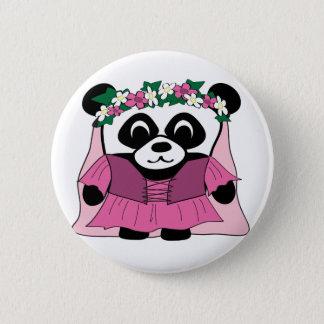 Badges Panda de fille dans la robe rose de la Renaissance
