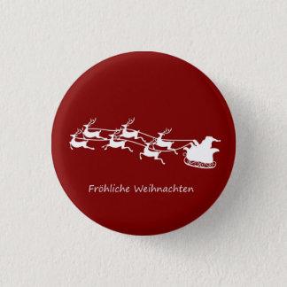 Badges Père Noël sur Sleigh Fröhliche Weihnachten