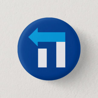 Badges Petit bouton d'hébreu de Hillary hé - bleu/blanc
