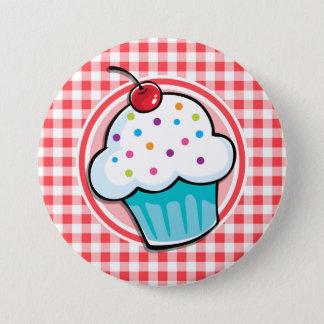 Badges Petit gâteau mignon sur le guingan rouge et blanc