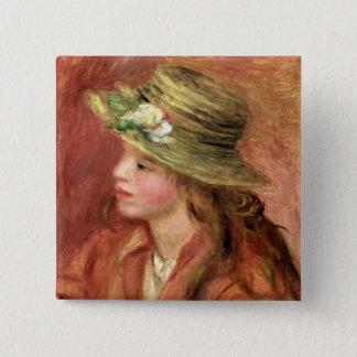 Badges Pierre une jeune fille de Renoir   dans un chapeau