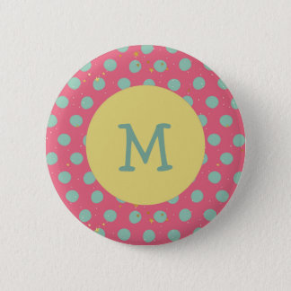 Badges Point de polka d'Aqua de monogramme avec les