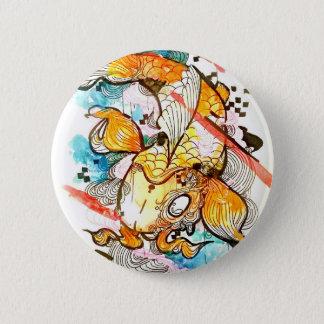Badges Poissons japonais de koi, art d'aquarelle, art