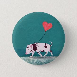 Badges Porc de bébé avec le ballon de coeur