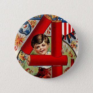 Badges Quatrième de garçon de juillet avec des feux