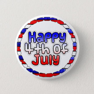 Badges Quatrième heureux de bouton de juillet