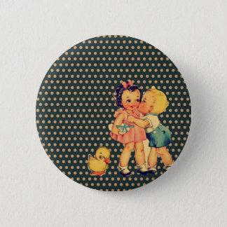 Badges rétros enfants de cru de kitsch de pois de vieille